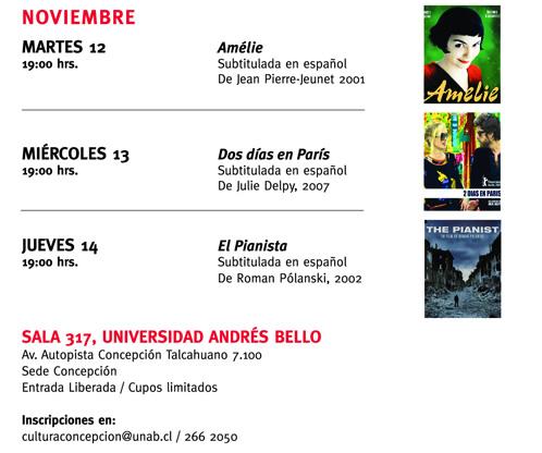Cartelera Ciclo Cine francés en la U. Andrés Bello