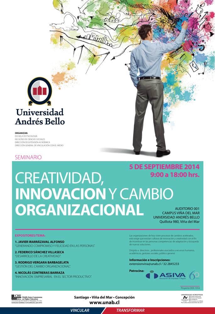 Afiche SEMINARIO CREATIVIDAD INNOVACION Y CAMBIO ORGANIZACIONAL