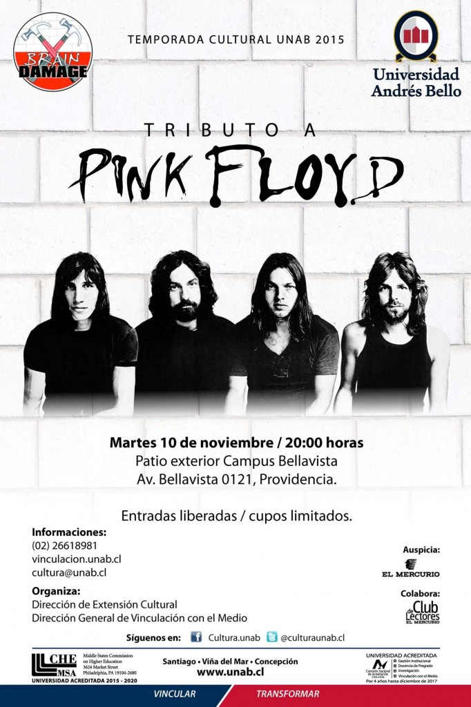 AFICHE Brain Damage UNAB BELLAVISTA 2015 Pink Floyd Tributo